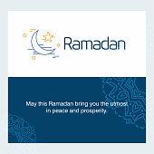 Ramadan Kareem Vector Background. calligraphy greeting card design of happy Ramadan Mubarak, Beautiful Muslim Event Eid Background Design. For web design and application interface, also useful for infographics. Vector illustration.