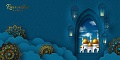 Ramadan Kareem vector banner with paper cut arabic window, clouds and flowers, mosque. Blue traditional background for Muslim holy month.