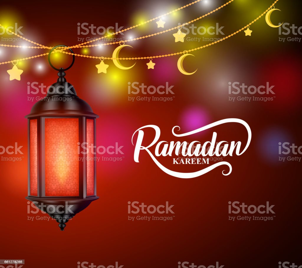 Ramadán kareem vector diseño colgante farol o fanoos - ilustración de arte vectorial