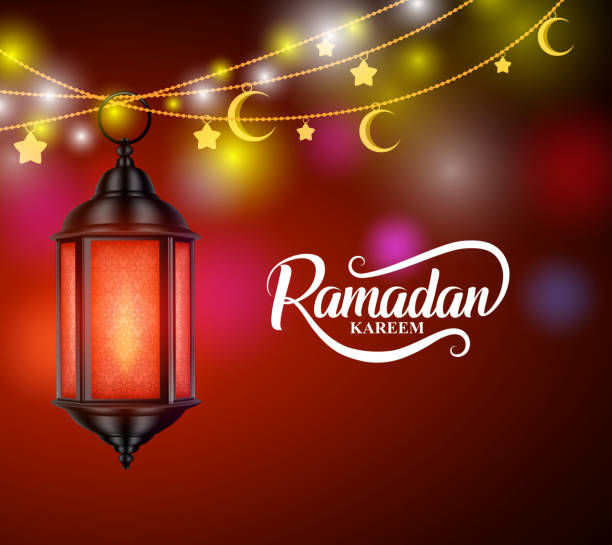ramadan kareem vector design with hanging lantern or fanoos - ramadan stock illustrations, clip art, cartoons, & icons