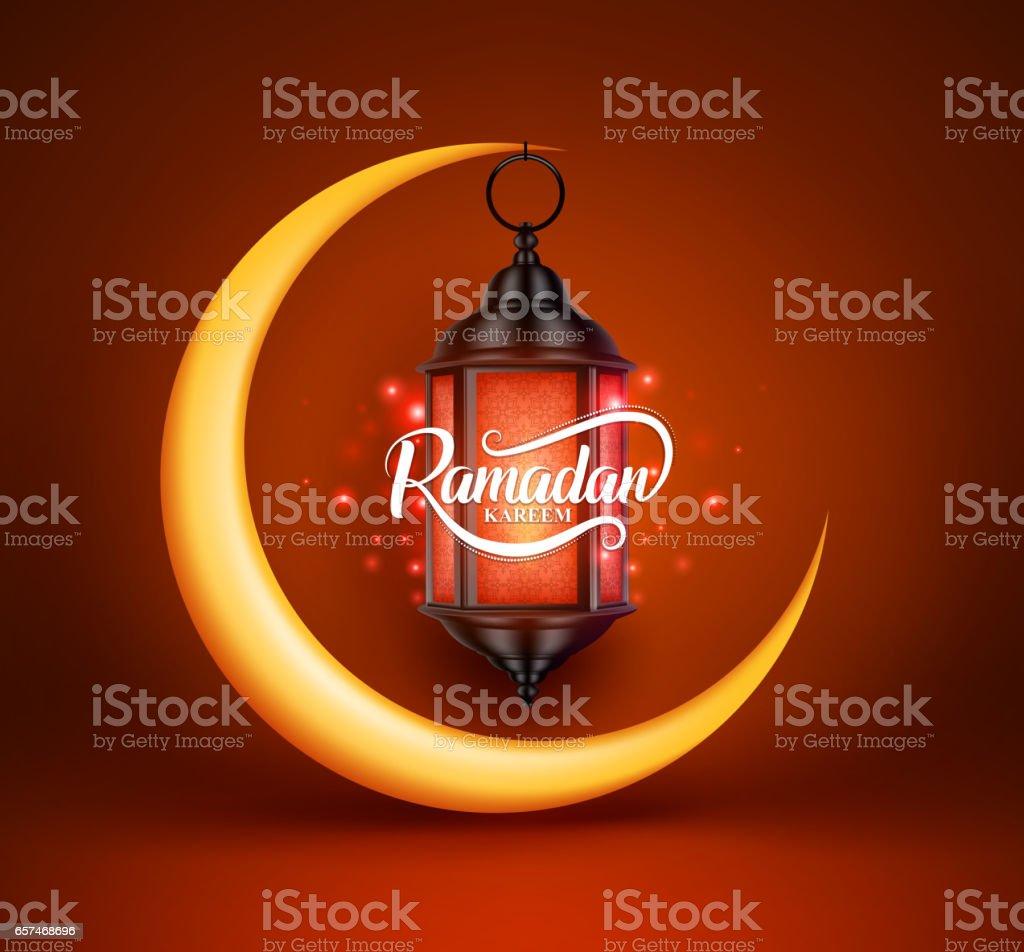 Saludos de Ramadán kareem vector diseño con linterna o fanoos colgante - ilustración de arte vectorial