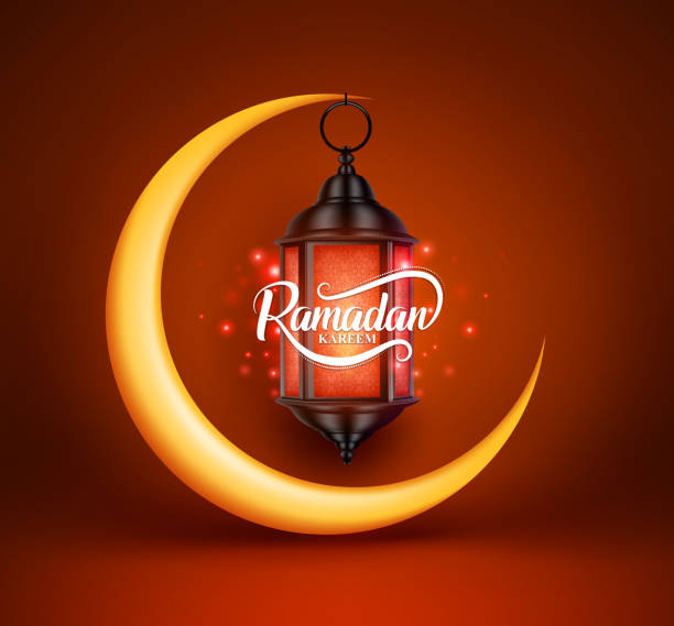 ramadan kareem vector greetings design with lantern or fanoos hanging - ramadan stock illustrations, clip art, cartoons, & icons