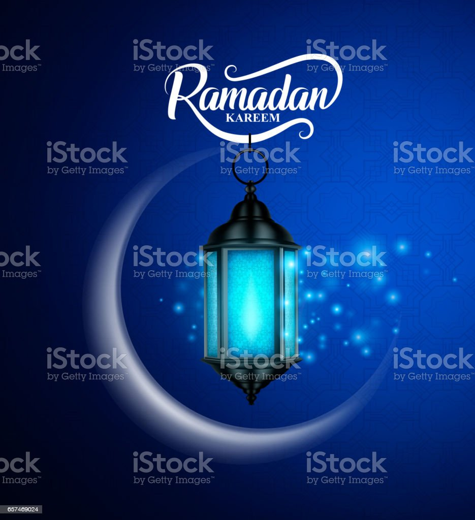 Ramadan kareem vector greetings design with lantern or fanoos hanging vector art illustration