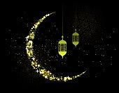ramadan festival symbol crescent and lantern