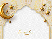 Ramadan Kareem vector card with 3d golden metal crescent and stars. Arabic style arch in beige color with traditional pattern. Copy space.