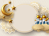 Ramadan Kareem vector card with 3d golden metal crescent, stars, paper cut clouds, mosque and flowers. Copy space.