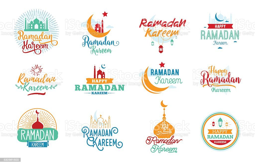 Ramadan kareem. Vector typographic design set vector art illustration
