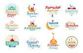 Ramadan kareem. Vector typographic design set