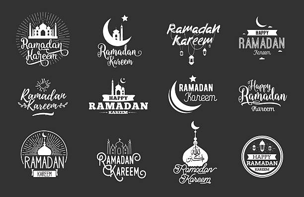 illustrations, cliparts, dessins animés et icônes de ramadan karim. ensemble vector conception typographique - ramadan kareem
