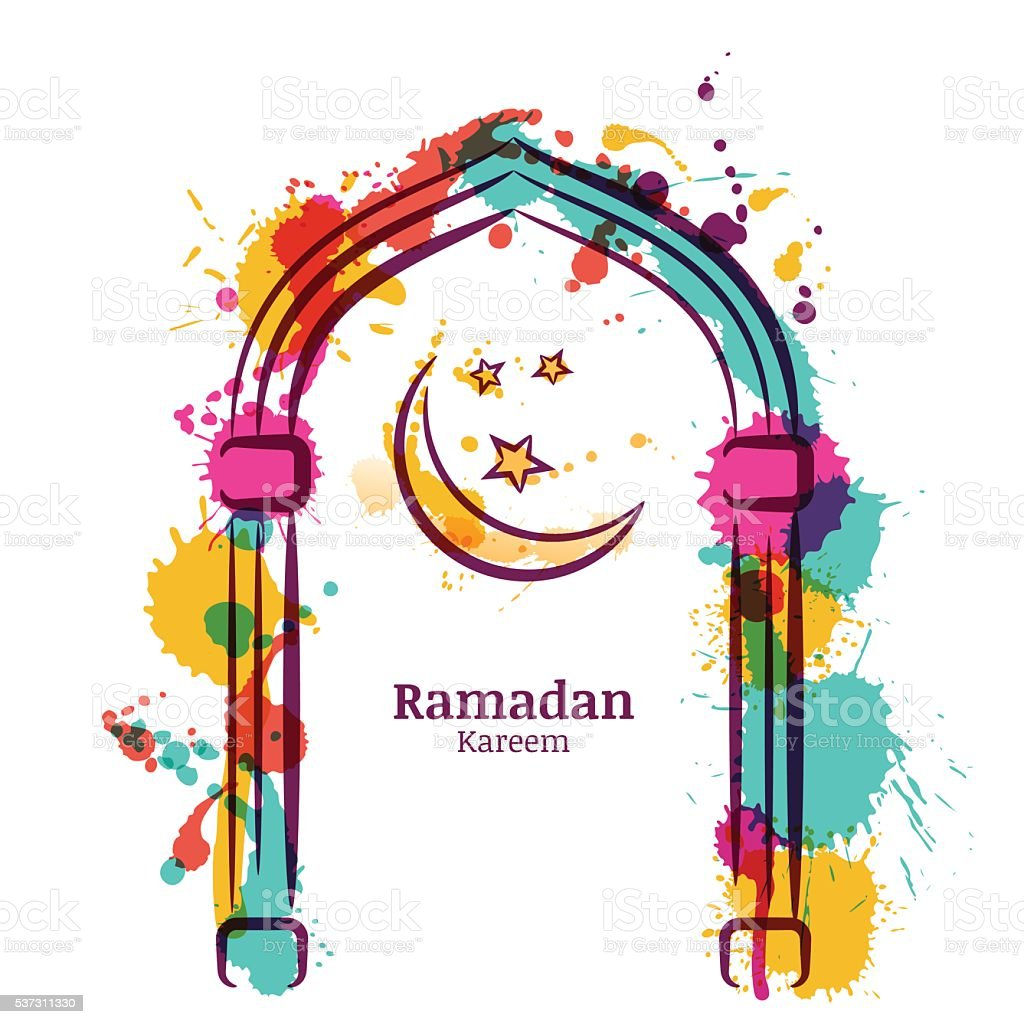 Ramadan Kareem vector watercolor background with moon and stars. vector art illustration