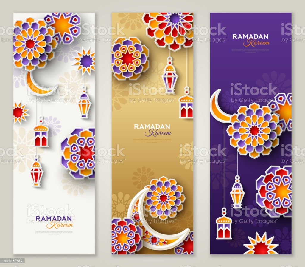 Ramadan Kareem vertical banners vector art illustration