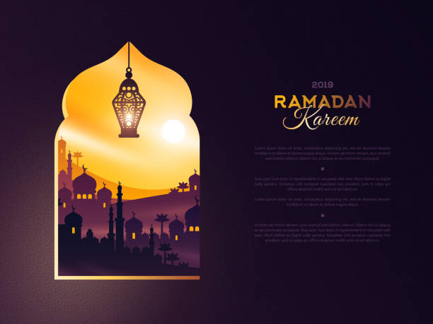 illustrazioni stock, clip art, cartoni animati e icone di tendenza di ramadan kareem window at sunset - arabia
