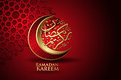 Ramadan kareem with arabic calligraphy, crescent moon and Islamic ornamental colorful detail of mosaic for islamic greeting.