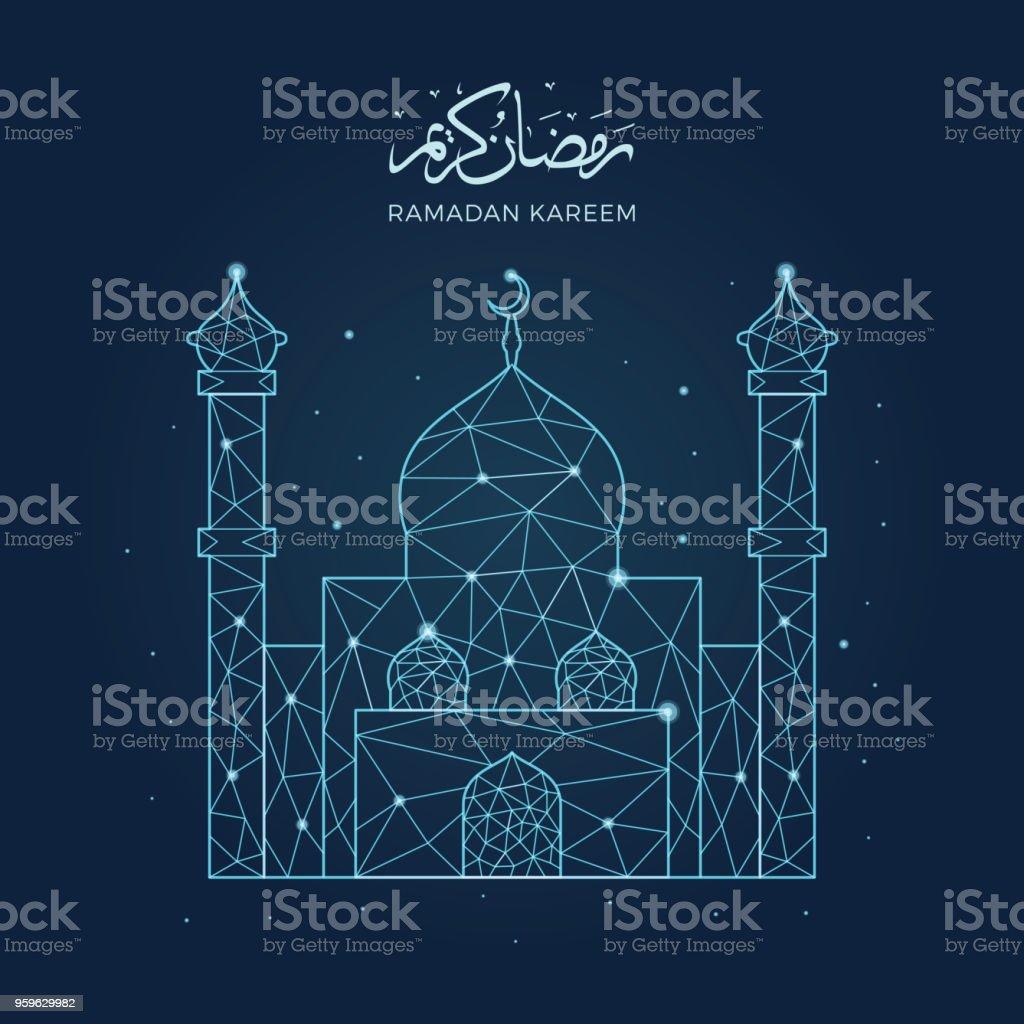Ramadán kareem con ilustración de Mezquita de línea arte geométrico - arte vectorial de Acontecimiento libre de derechos