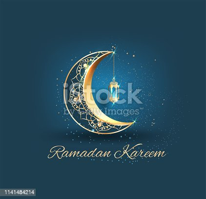 Ramadan kareem with golden ornate crescent and islamic line mosque dome with classic pattern and lantern greeting  card islamic celebration background for graphic design