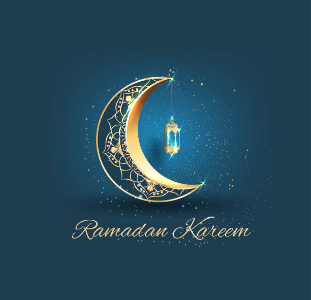 Ramadan kareem with golden ornate crescent and islamic line mosque dome with classic pattern and lantern greeting  card islamic celebration background for graphic design Ramadan kareem with golden ornate crescent and islamic line mosque dome with classic pattern and lantern greeting  card islamic celebration background for graphic design ramadan stock illustrations