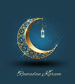 Ramadan kareem with golden ornate crescent and islamic line mosque dome with classic pattern and lantern greeting  card islamic celebration luxury background for graphic design