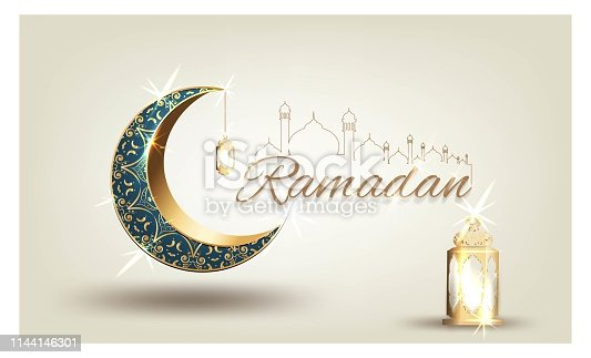 istock Ramadan kareem with golden ornate crescent and islamic line mosque dome with classic pattern with lantern greeting  card islamic celebration luxury template vector background 1144146301