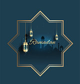 Ramadan kareem with golden ornate crescent celebration  background greeting template invitation poster and banner card for graphic design