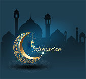 Ramadan kareem with golden ornate crescent celebration luxurious background for poster and banner greeting template invitation vector  graphic design