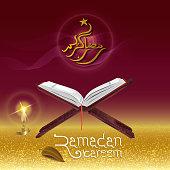 Ramadan Kareem with illustrations Quran and lanterns