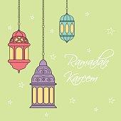 Ramadan kareem with lentern design