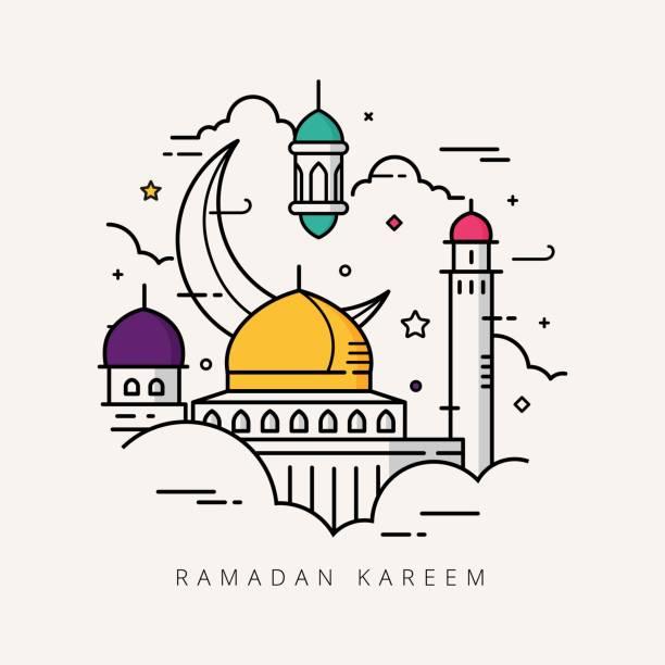 ramadan kareem mit linienart design - ramadan kareem stock-grafiken, -clipart, -cartoons und -symbole