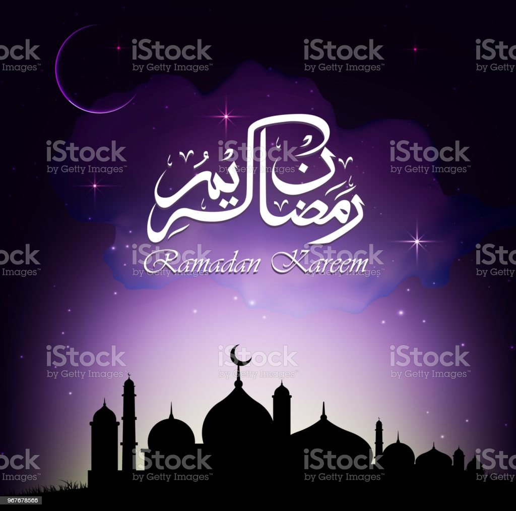 Ramadan Kareem with mosque silhouette at night vector art illustration