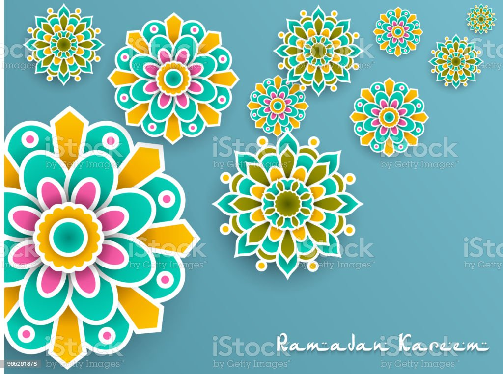 Ramadan Kareem with paper graphic of islamic decoration royalty-free ramadan kareem with paper graphic of islamic decoration stock vector art & more images of no people
