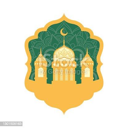 istock ramadan kareen celebration frame with golden mosque 1301505163