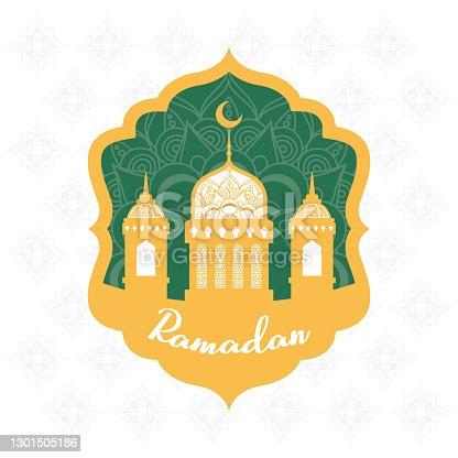 istock ramadan kareen celebration frame with golden mosque 1301505186