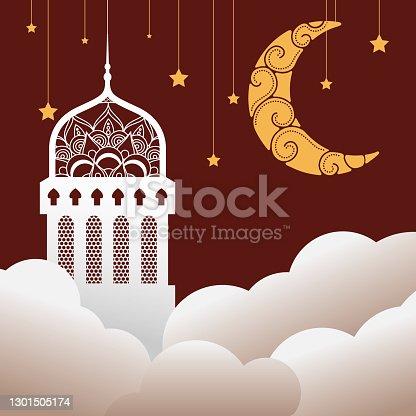 istock ramadan kareen celebration mosque and moon hanging in clouds 1301505174
