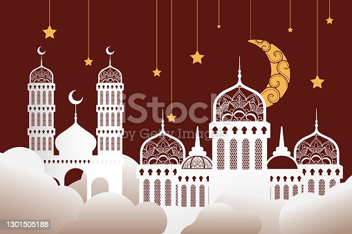 istock ramadan kareen celebration mosques with golden stars and moon hanging 1301505188