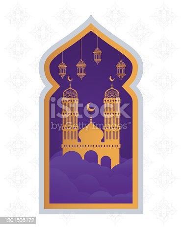 istock ramadan kareen celebration purple frame with golden mosque palace 1301505172