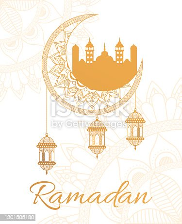 istock ramadan kareen lettering with lanterns hanging in moon and mosque 1301505180