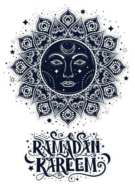 Ramadan Karrem conceptual postcard with boho sun and hand drawn lettering element. vector art illustration