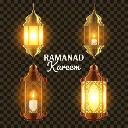 Ramadan Lamp Set Vector. Islam. Kareem Lamp. Lantern Design. Mubarak Night. Ramazan Greeting Design. Muslim Fanous, Fanoos. Islamic Season Invitation Banner Design Element. 3D Realistic Illustration