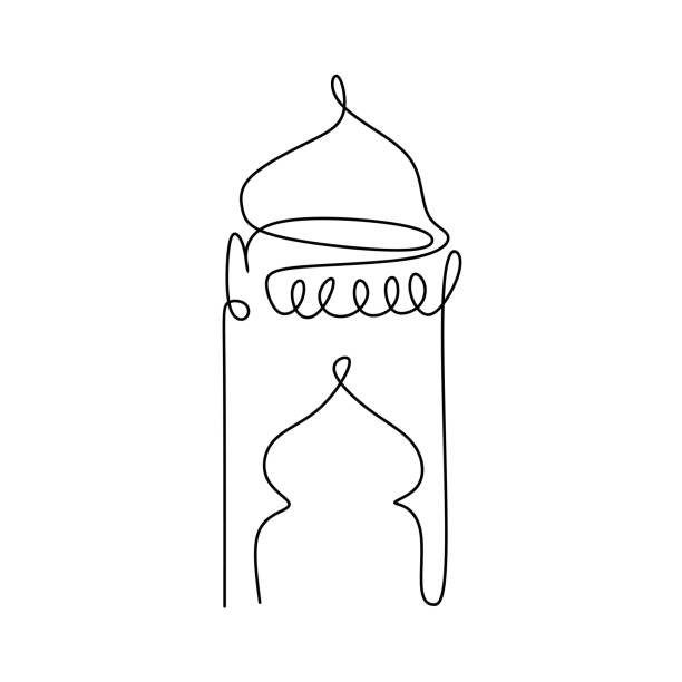 ilustrações de stock, clip art, desenhos animados e ícones de ramadan lantern one line drawing vector illustration minimalism style - cora��o