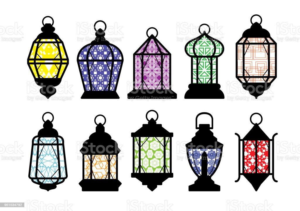 Ramadan Lantern Pattern Colors Yellow Vector Illustration vector art illustration