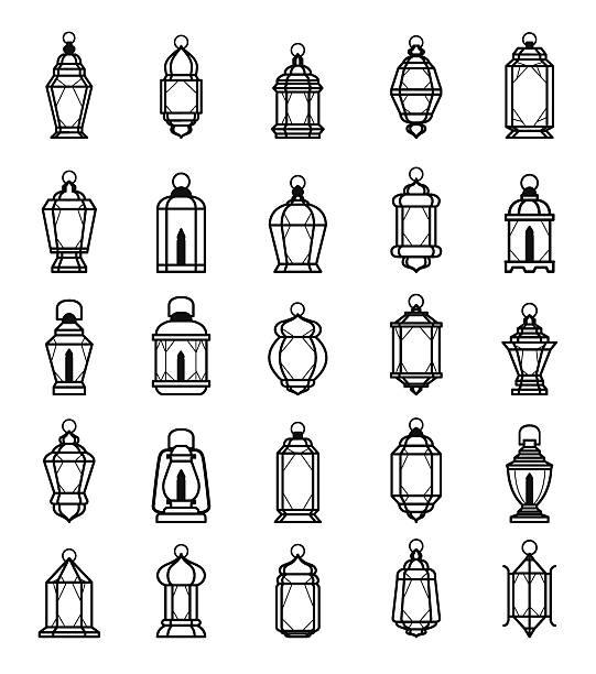 Ramadan Lantern Symbol Monochrome Background Vector Illustration Ramadan Lantern Collection EPS10 File Format lantern stock illustrations