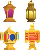 Illustration of colored lanterns used as religious ornaments for decoration and celebration in the holy month of Ramadan.