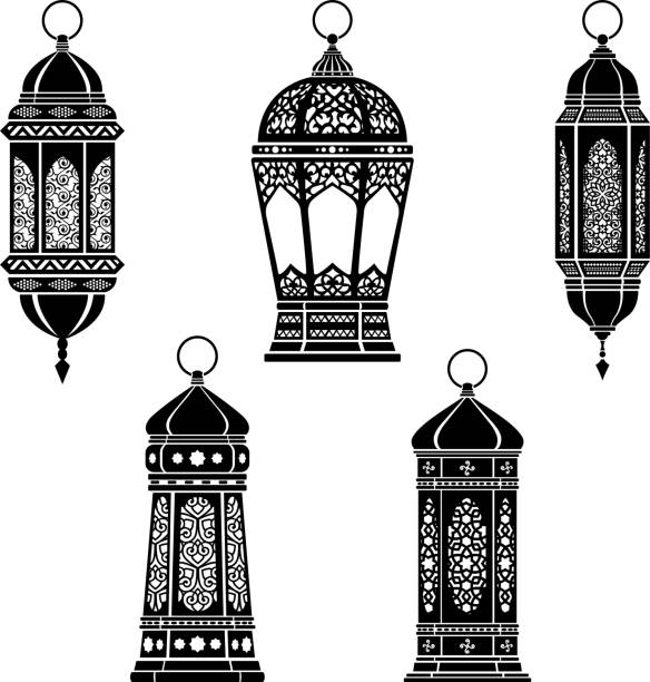 Ramadan Lanterns Ramadan Lantern Symbol Monochrome Background Vector Illustration lantern stock illustrations