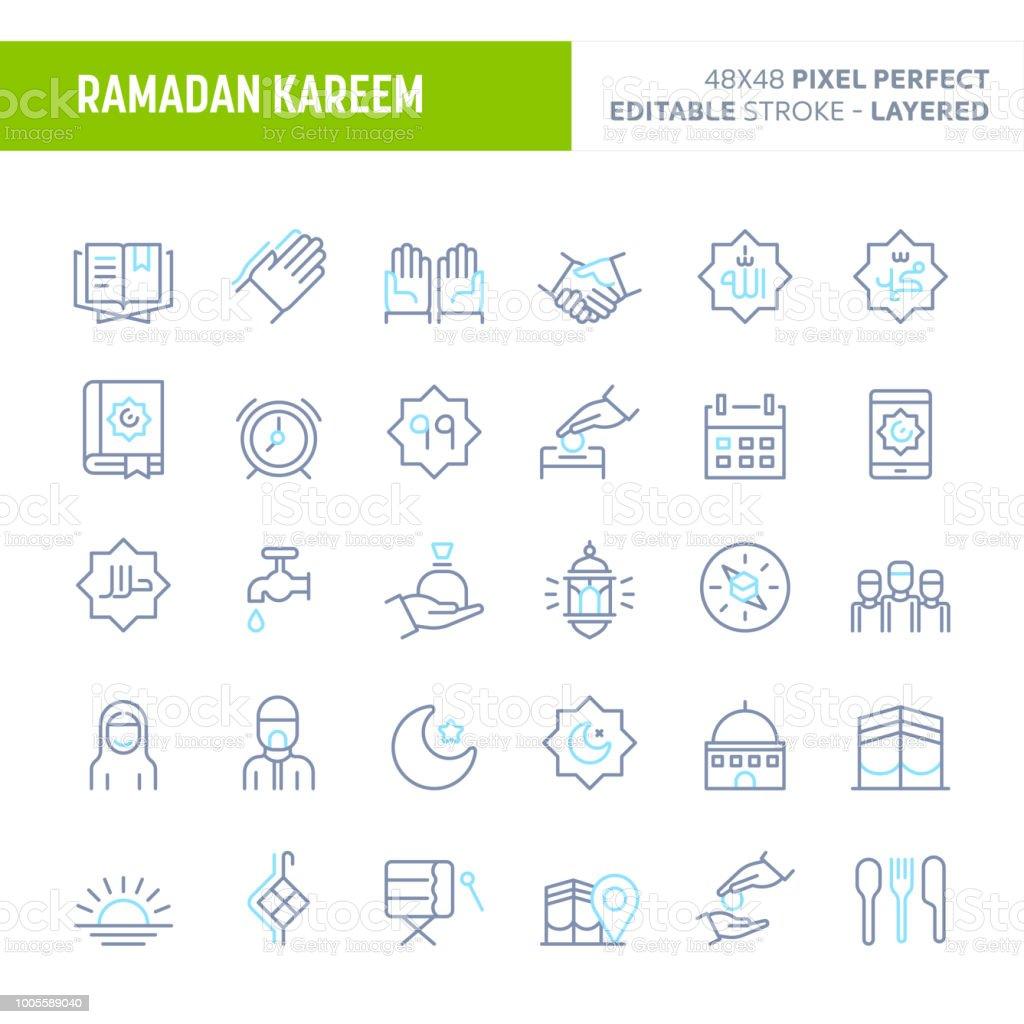 Ramadan Minimal Vector Icon Set (EPS 10) vector art illustration