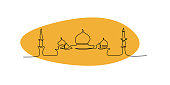 istock Ramadan mosque one line continuous drawing 1153243956