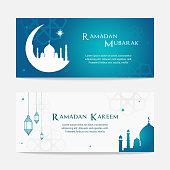Ramadan Mubarak and Ramadan Kareem cards vector illustration