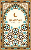 Ramadan Mubarak beautiful greeting card. Background with crescent moon and traditional morocco pattern