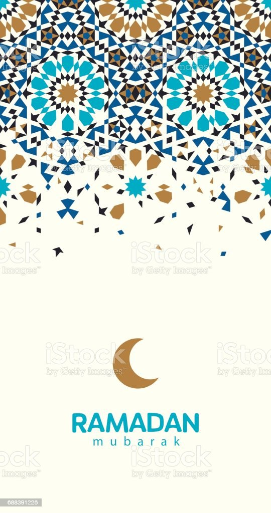 Tarjeta de felicitación hermosa Ramadán Mubarak. - ilustración de arte vectorial