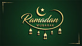 Ramadan Mubarak English calligraphy text on islamic green background with beautiful lanterns lamp light, moon, star & 3d look. this is an EPS version 10 files, very easy to use.