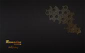 Ramadan Mubarak holiday design with decorated traditional islamic pattern , black background. Vector illustration.