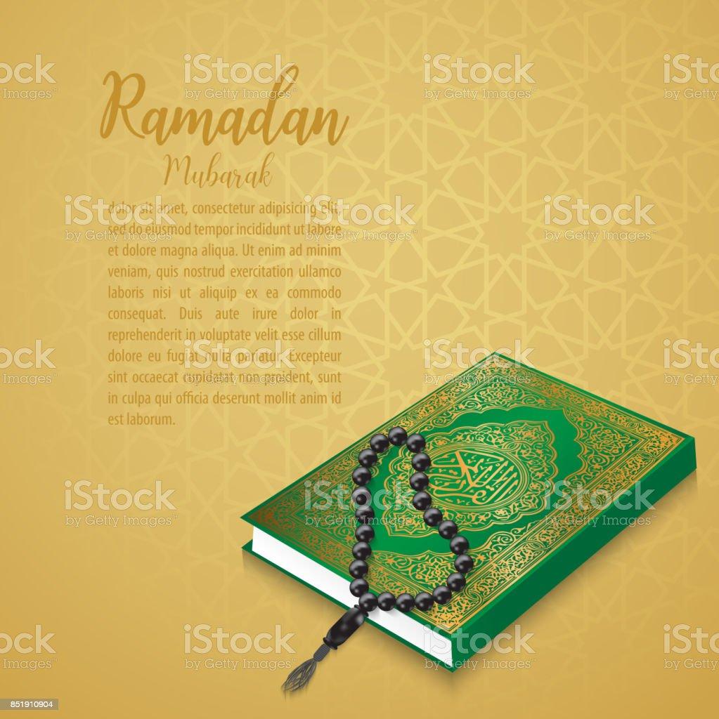 Ramadan Mubarak Pattern vector,Al Quran on the arabic pattern